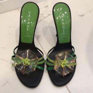 Casadei Green Embellished Heels Size 36.5